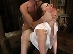 Dana gives a blowjob and fucked hard while in bondage.